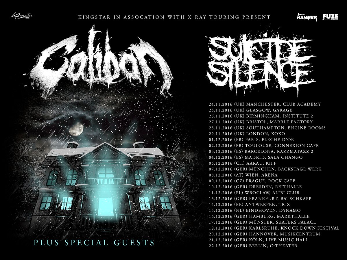 Tourplakat Caliban & Suicide Silence 2016