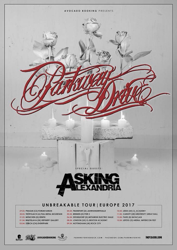 """Tourplakat zur """"Unbreakable""""-Tour 2017 von PARKWAY DRIVE und ASKING ALEXANDRIA"""
