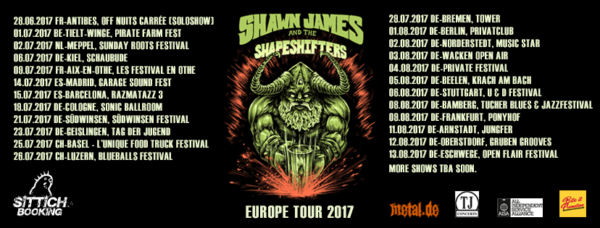 Shawn James and the Shapeshifters (Tour 2017)