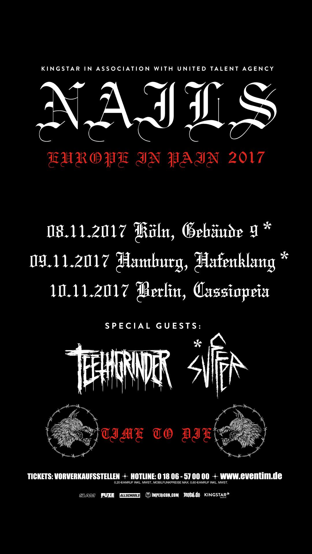 Nails - Tourplakat Europe in Pain 2017
