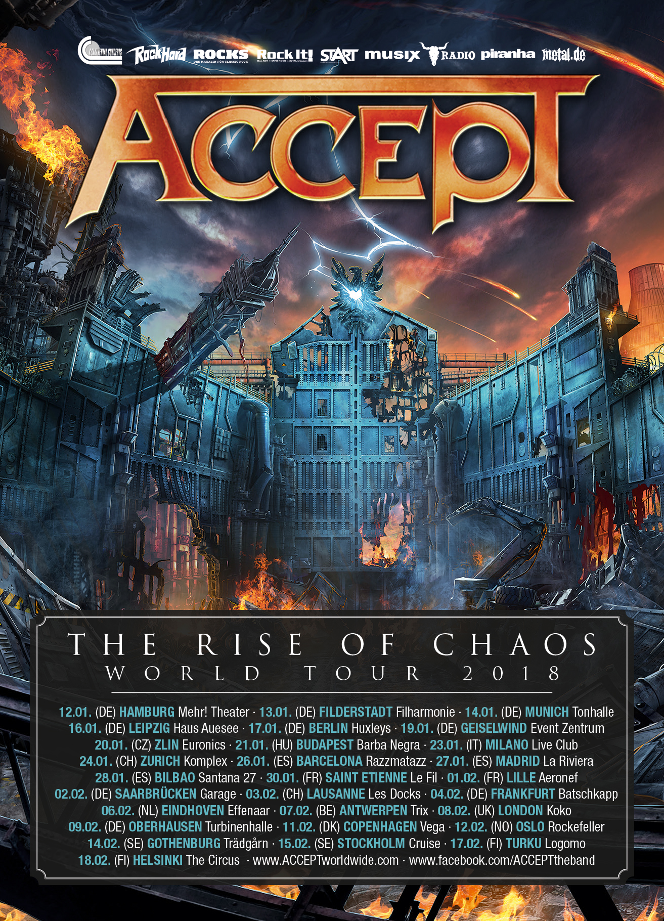 Tourplakat Accept The Rise Of Chaos World Tour 2018