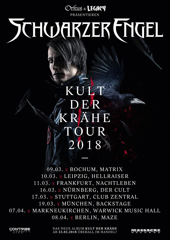 Konzertplakat: Schwarzer Engel - Kult Der Krähe Tour 2018