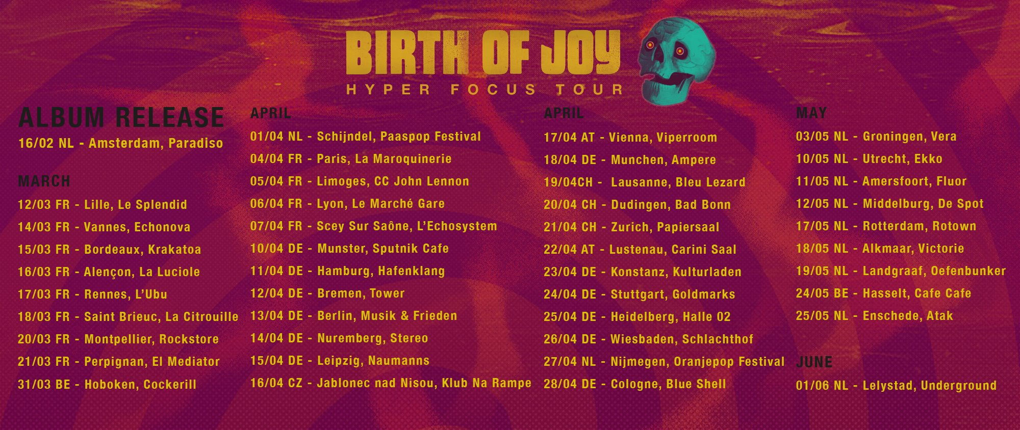 Tourplakat von Birth Of Joy 2018