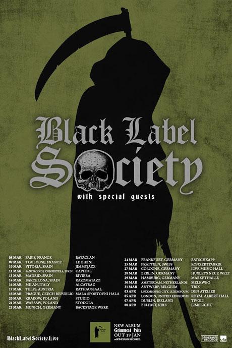 Tourplakat von Black Label Society 2018