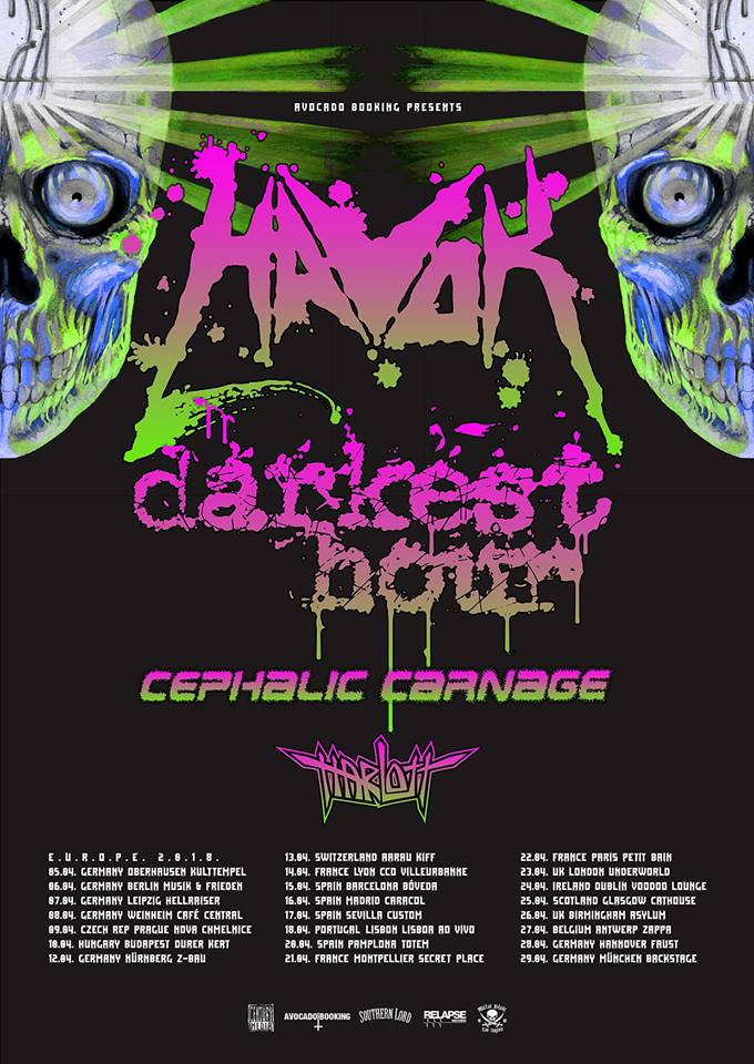 Tourplakat von Havok auf European Tour 2018