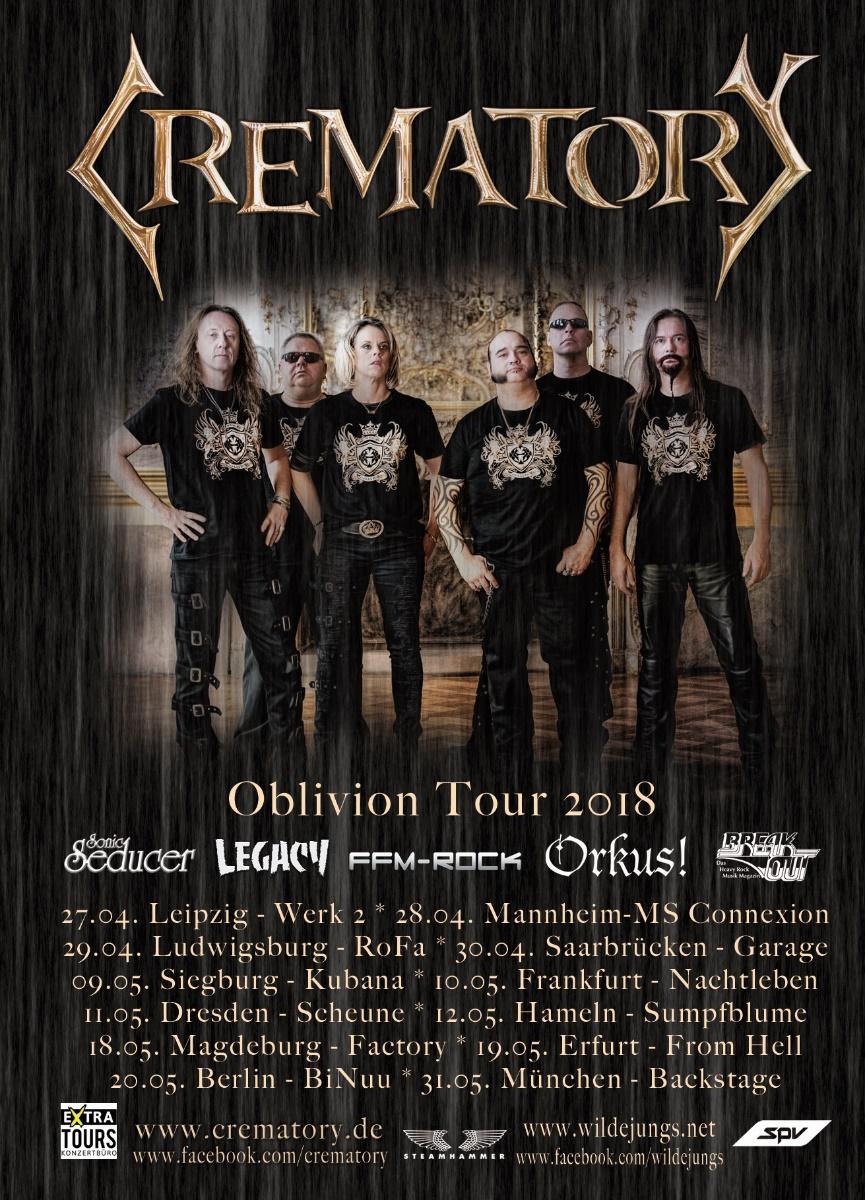 Tourplakat von Crematory zur Oblivion Tour 2018