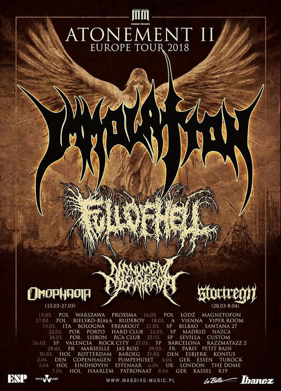 Tourplakat - Immolation - Atonement II To Europe Tour 2018