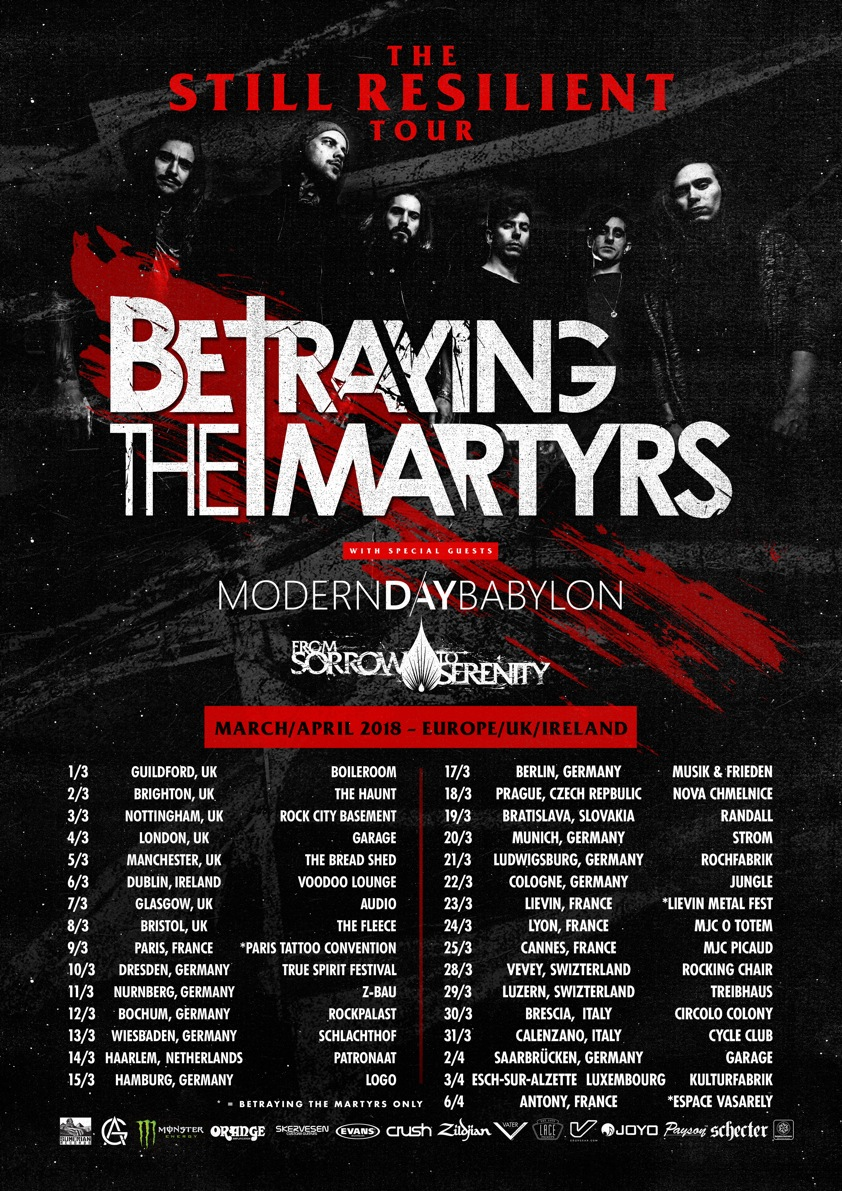 Tourplakat von Betraying The Martyrs 2018
