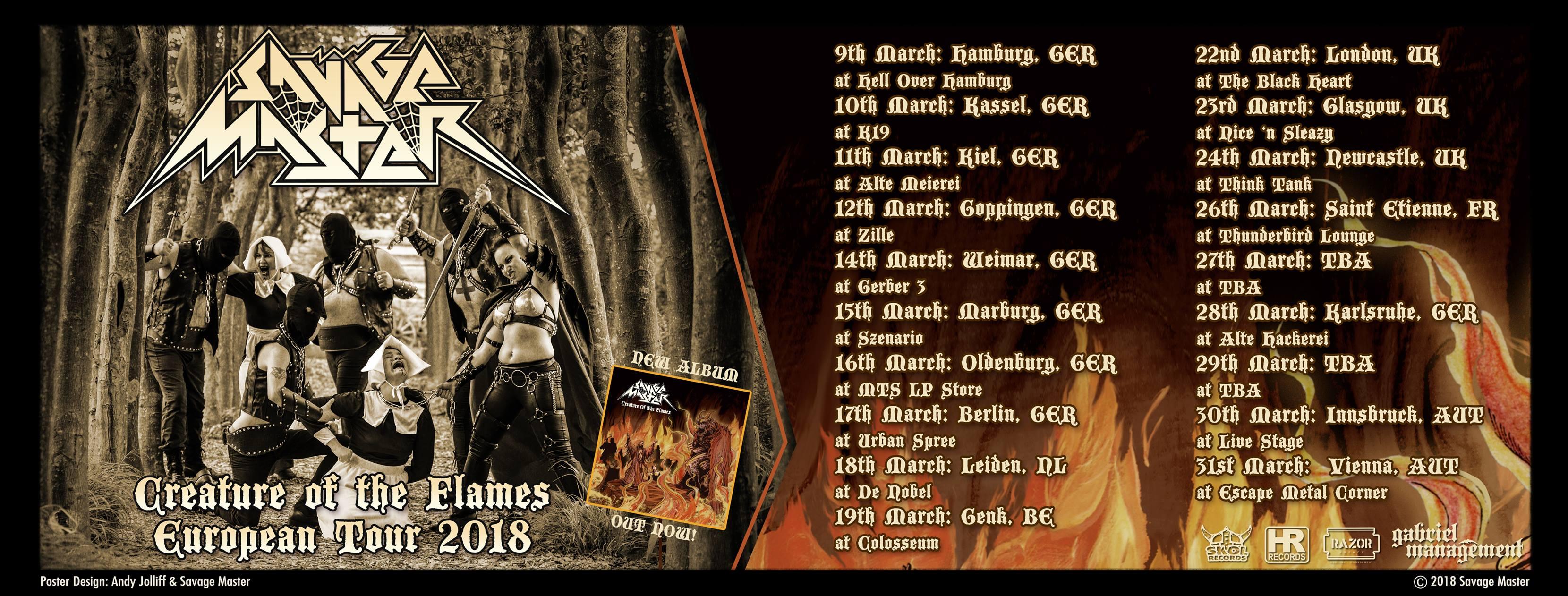 Tourplakat von Savage Master - Creature Of The Flames European Tour 2018