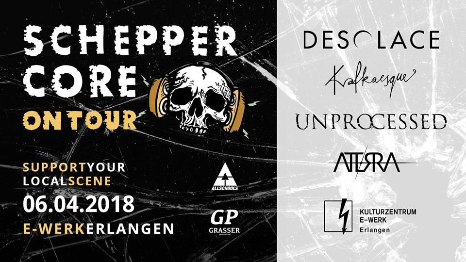 Plakat für Scheppercore On Tour in Erlangen 2018