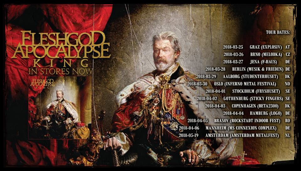 Tourplakat Fleshgod Apocalypse auf King European Tour PT III 2018