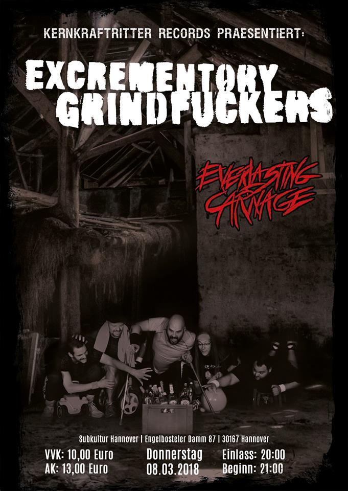 Konzertplakat Excrementory Grindfuckers - Hannover 2018