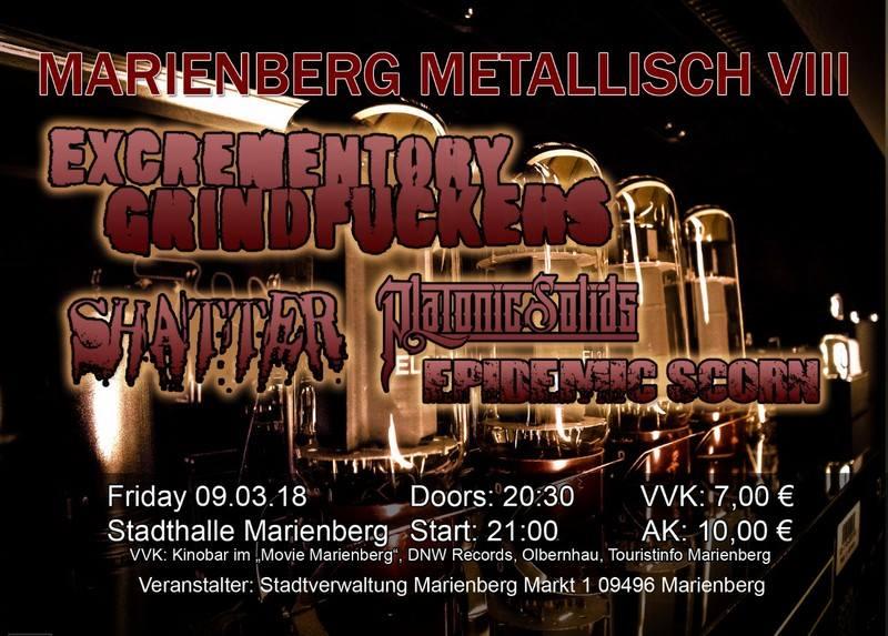 Konzertplakat Excrementory Grindfuckers Marienberg 2018