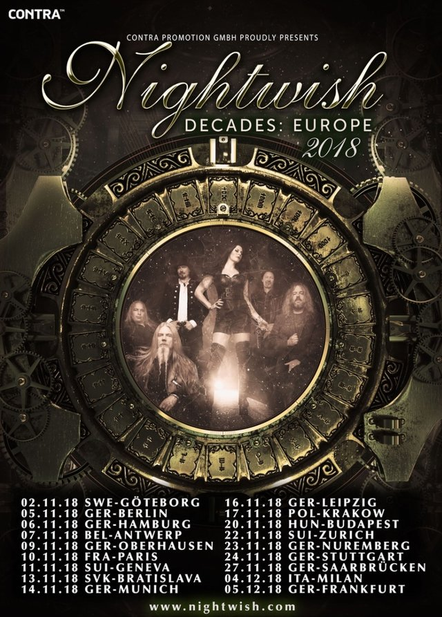 Tourplakat Nightwish - Decades European Tour 2018