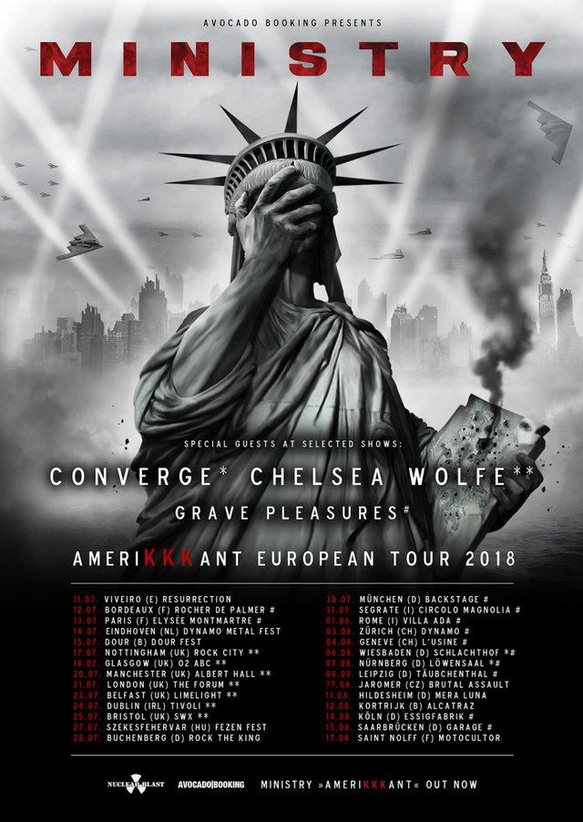 Tourplakat von Ministry auf Amerikkkant auf European Tour 2018