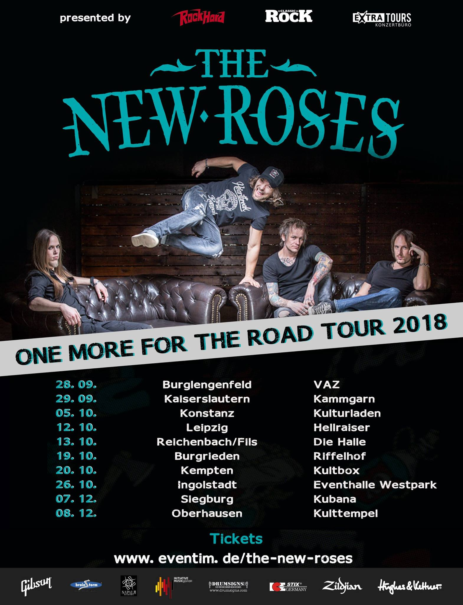 Tourplakat von The New Roses auf One More For The Road Tour 2018