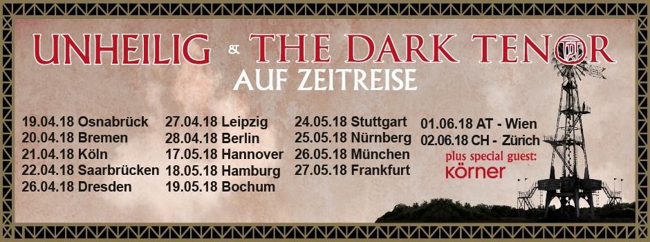 Tourplakat von Unheilig & The Dark Tenor auf Zeitreise Tour 2018