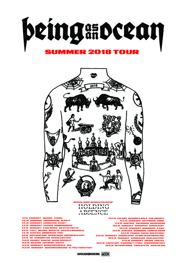 Tourplakat - Being As An Ocean - Summer 2018 Tour