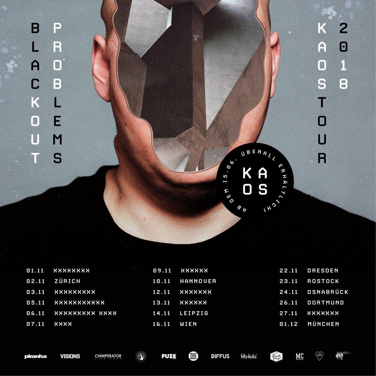 Tourplakat - Blackout Problems - Kaos Tour 2018