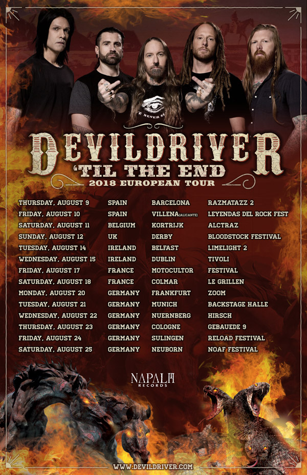 Tourplakat von DevilDriver - 'Til The End 2018 European Tour