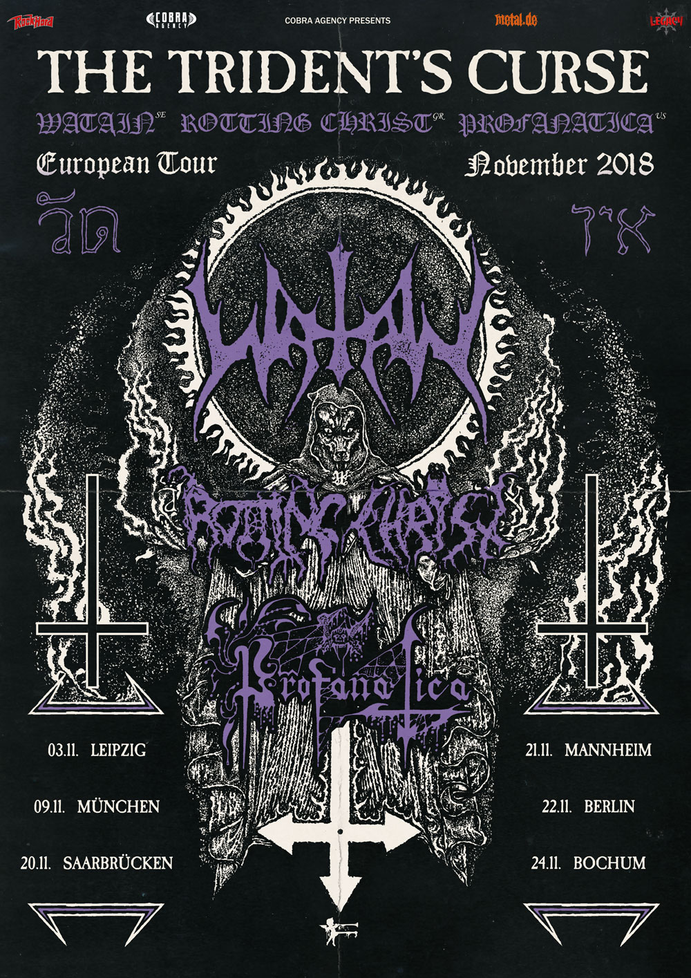 Bild Watain - The Trident's Curse Tour Poster