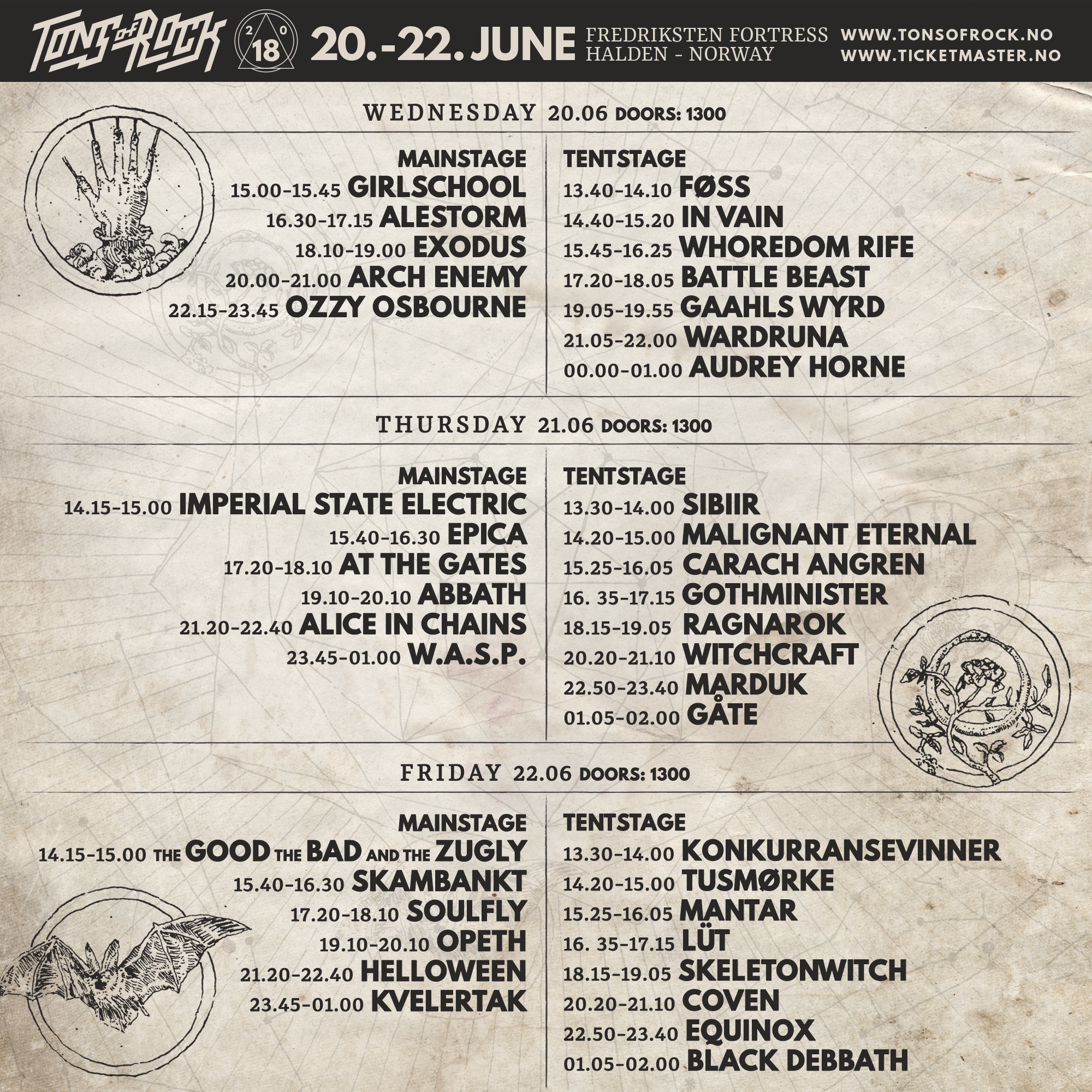 Tons Of Rock 2018 (Running Order)
