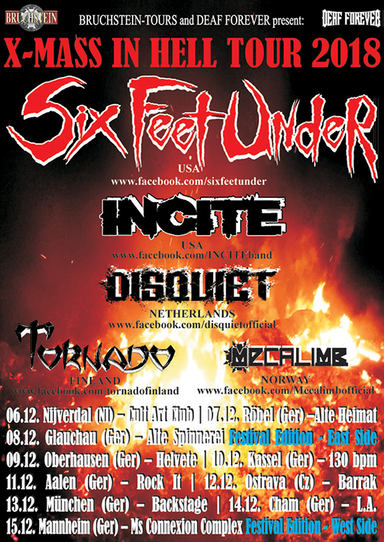 Six Feet Under - X-Mas in Hell Tour 2018