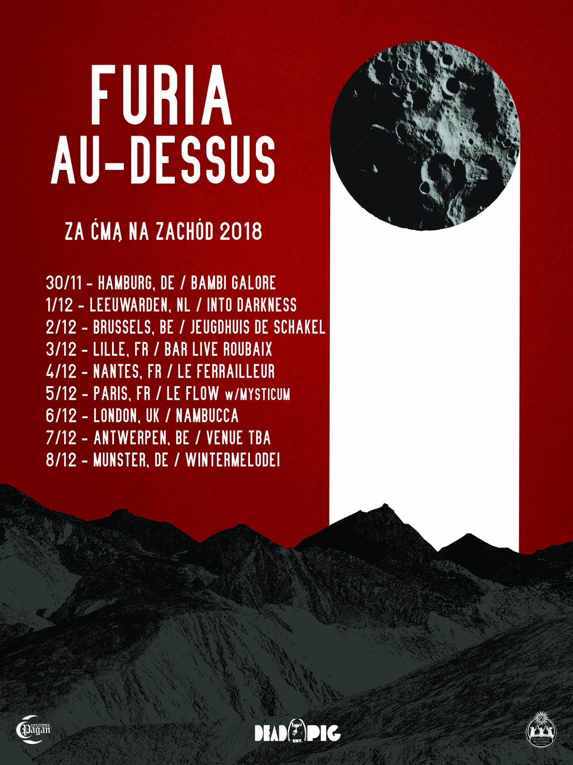 Tourplakat von Furia auf ihrer Western European Tour 2018
