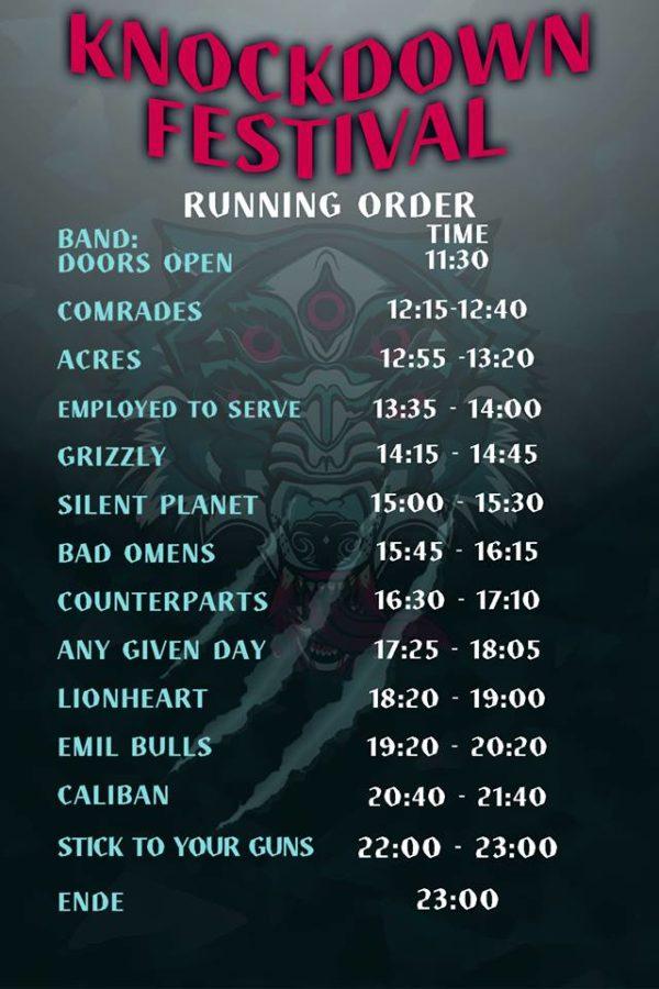 Running Order für das Knockdown Festival 2018