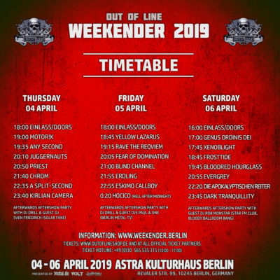 Out Of Line Weekender 2019 Timetable