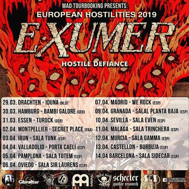 """Bild: Exumer - """"European Hostilities 2019""""-Tour"""