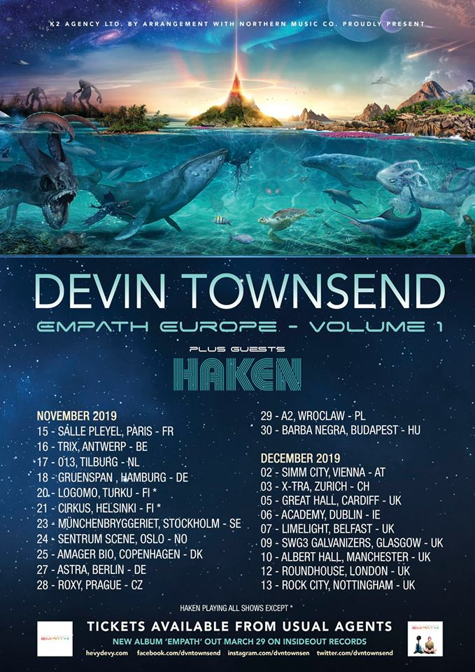 Flyer Devin Townswnd 2019 Empath Europe Tour