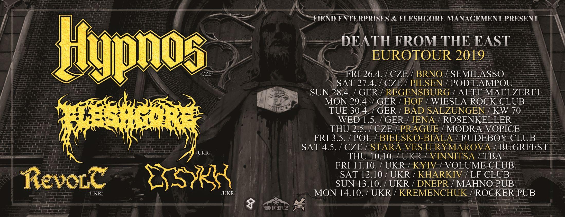 Tourplakat von Hypnos auf Death from the East tour 2019