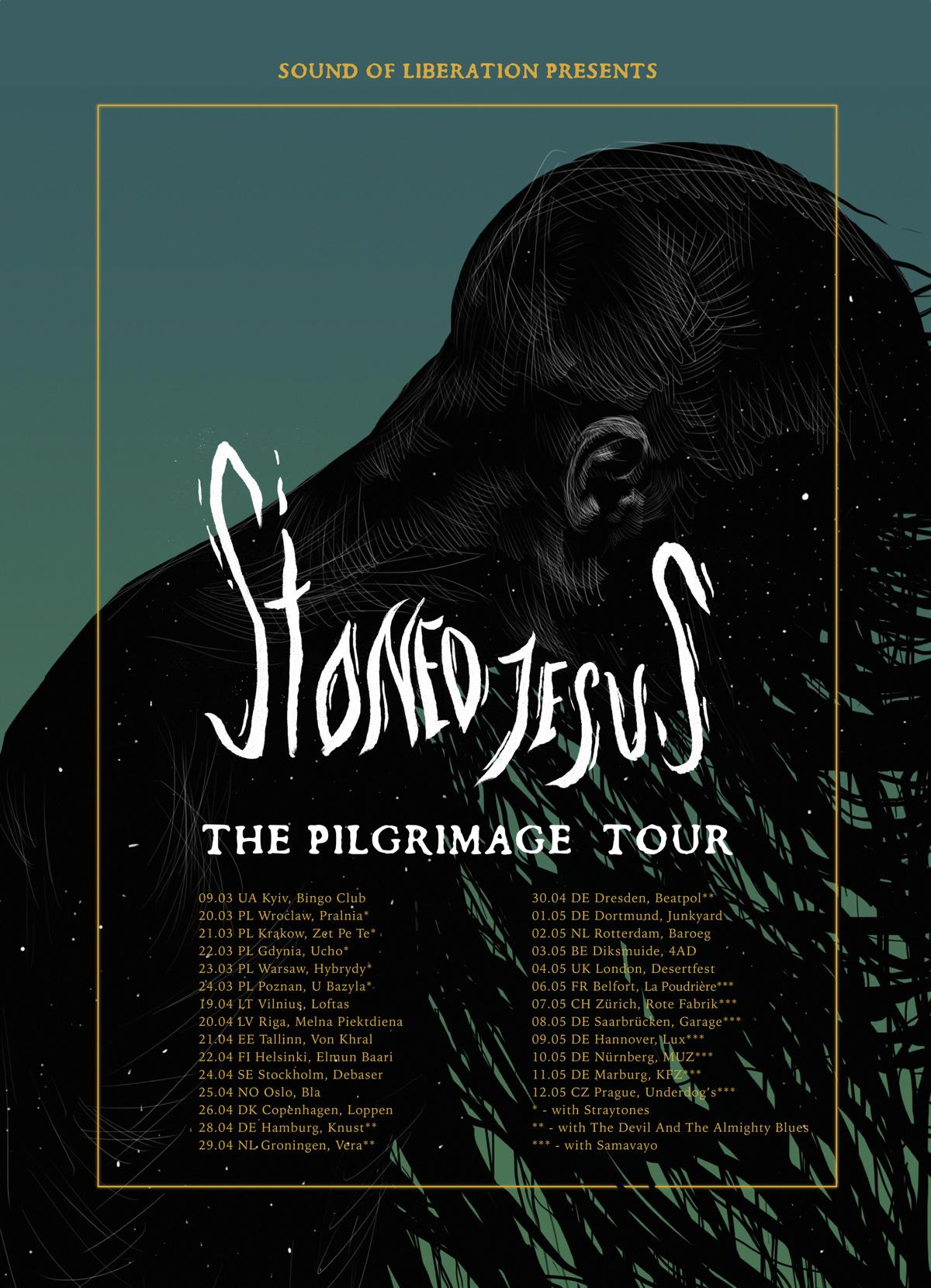 Tourplakat von Stoned Jesus auf The Pilgrimage Tour 2019