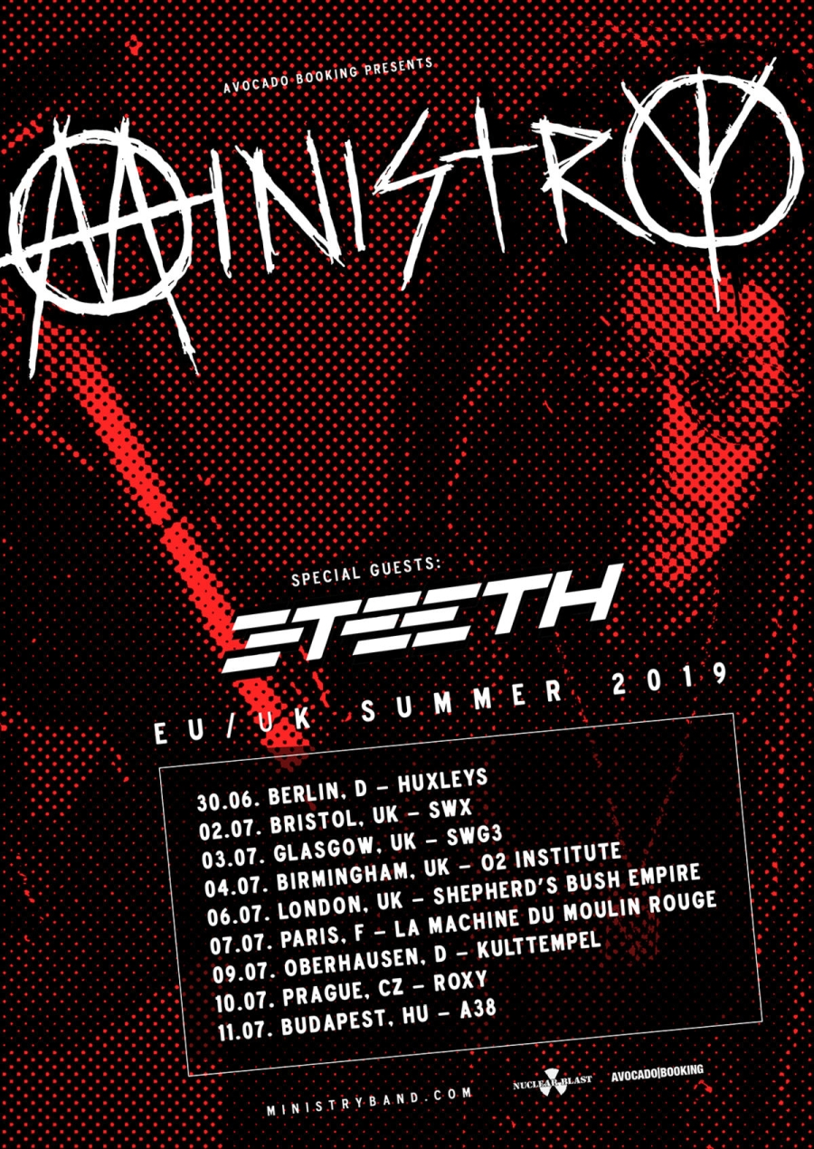 Flyer Ministry 3Teeth EU UK Summer Tour 2019
