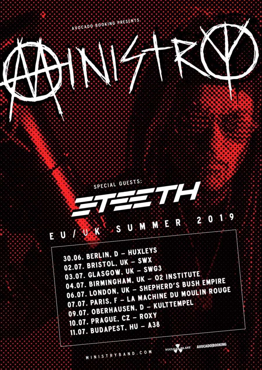 Flyer Ministry 3Teeth EU UK Summer Tour 2019