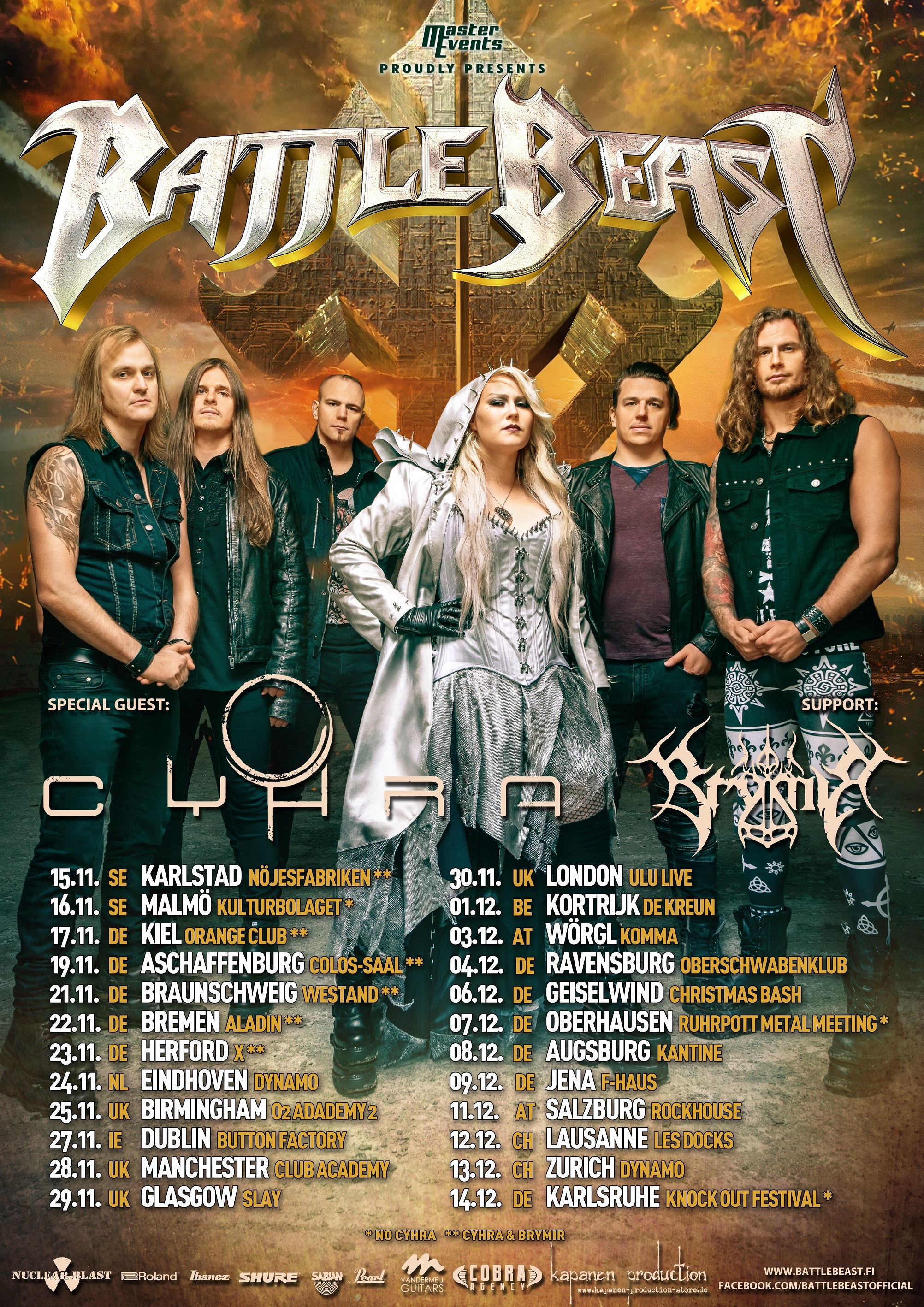 Tourplakat Battle Beast - No More Hollywood Endings Tour 2019