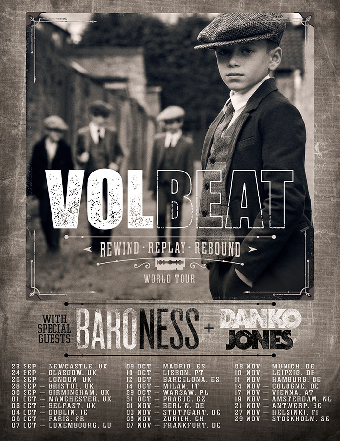 Tourplakat - Volbeat Rewind Replay Rebound Tour 2019