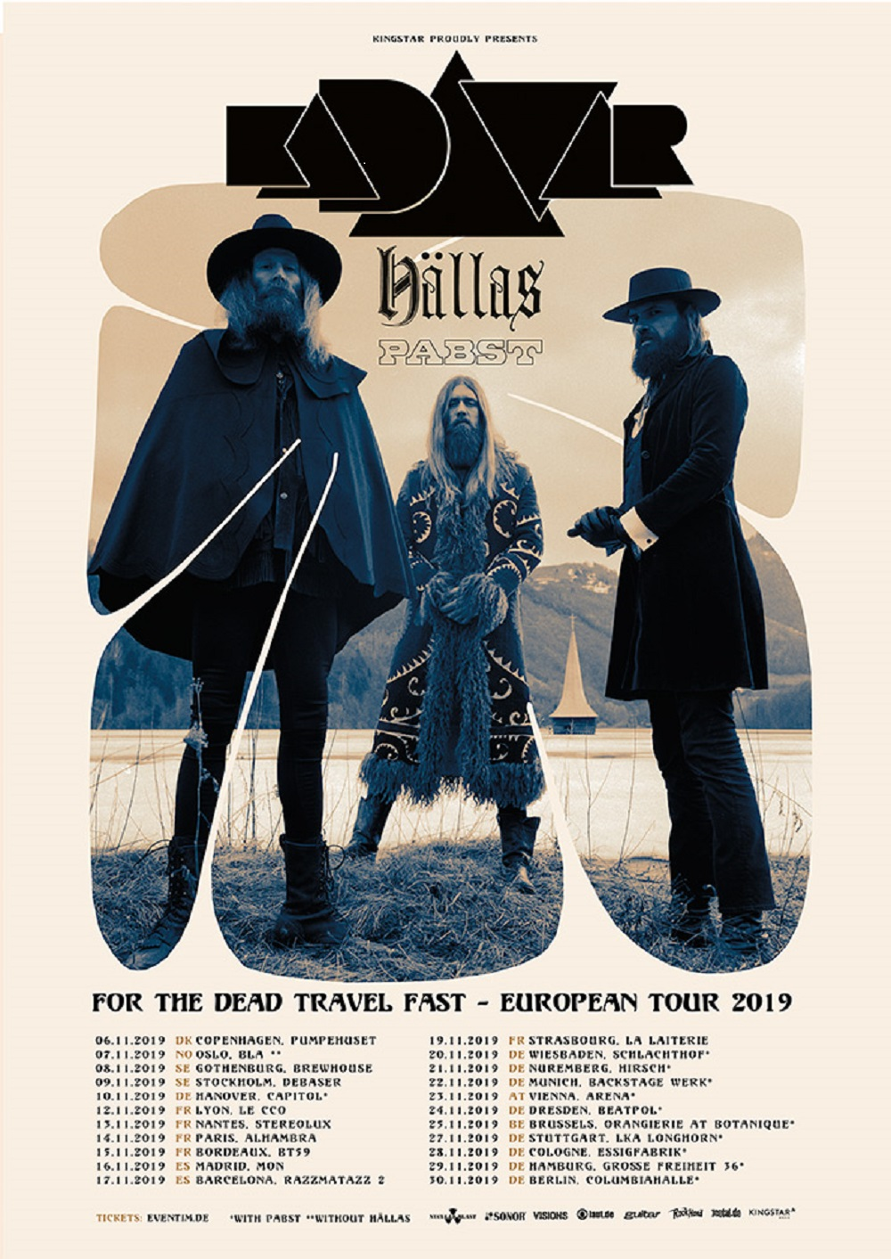 Kadavar For The Dead Travel Fast Europa Tour 2019
