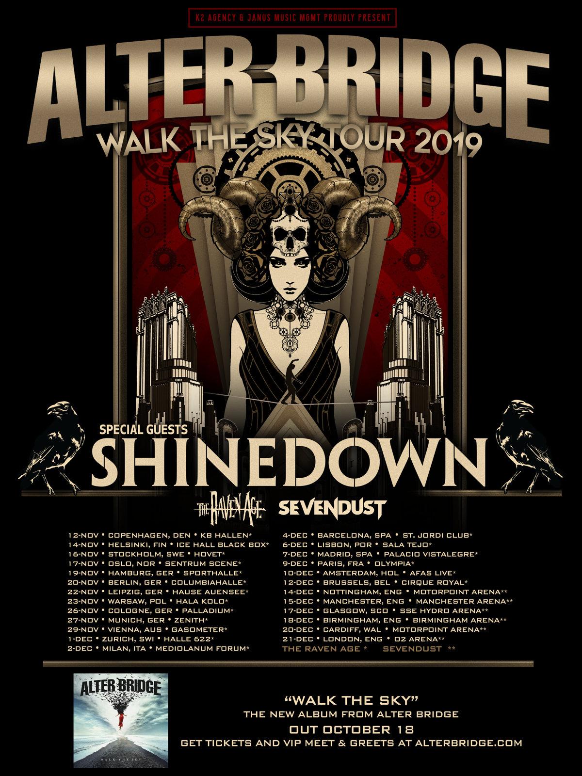 Tourplakat - Alter Bridge - Walk The Sky Tour 2019
