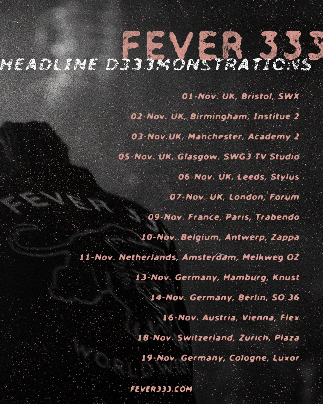 Tourposter - Fever 333 - Headline D333MONSTRATIONS Tour 2019