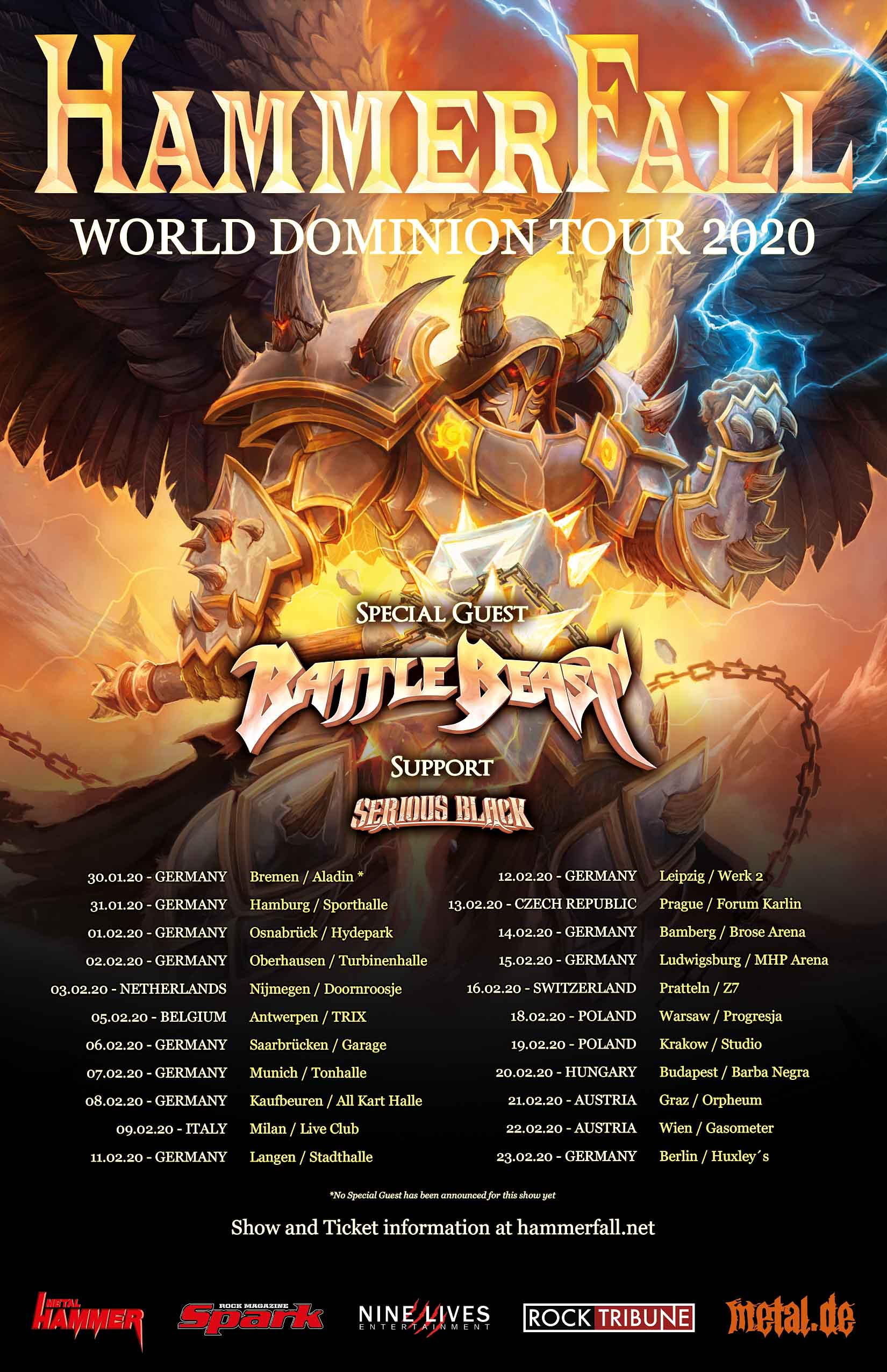 Hammerfall World Dominion Tour 2020
