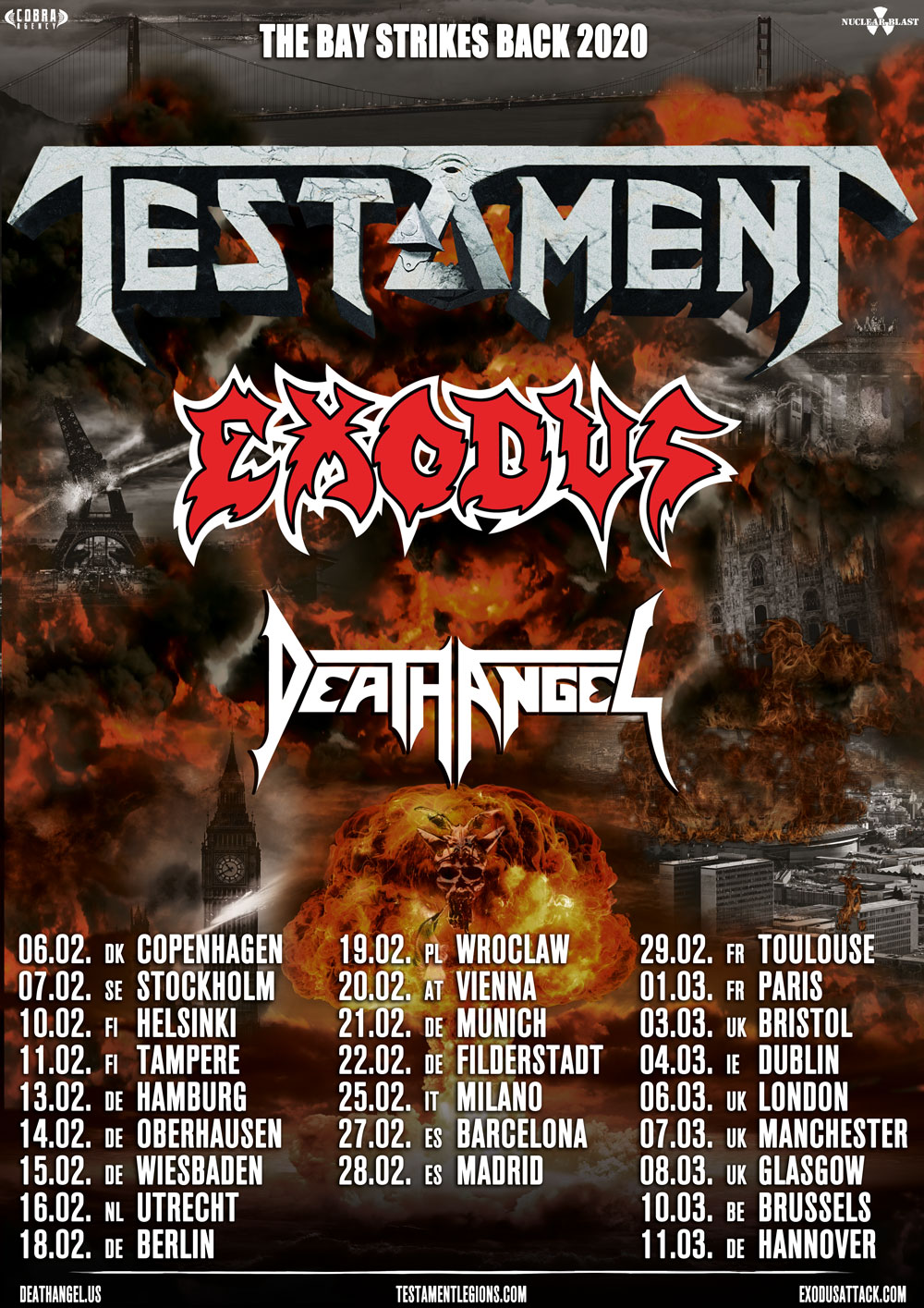 Testament, Exodus, Death Angel - The Bay Strikes Back 2020