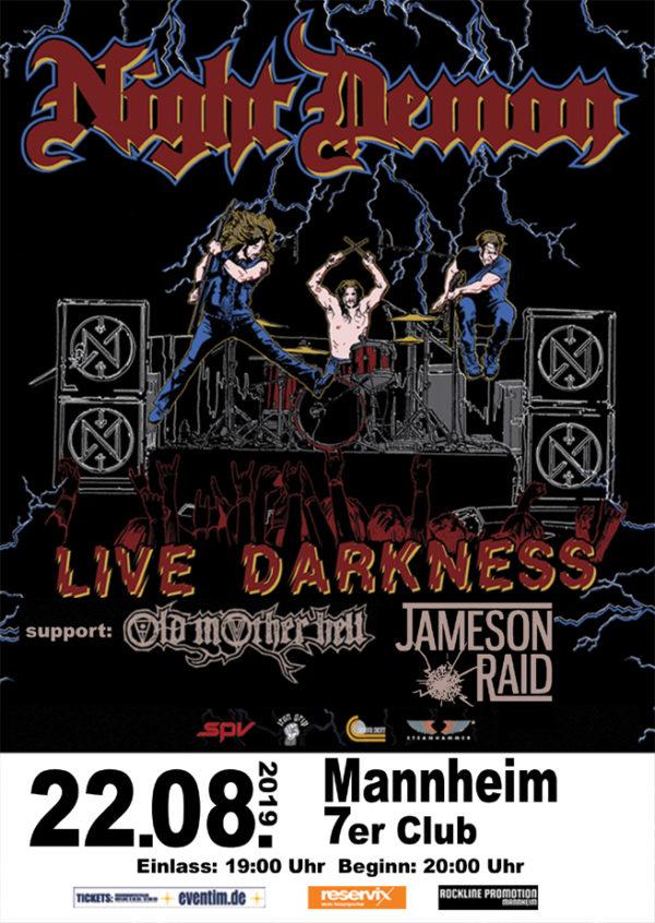 Night Demon Plakat - Mannheim 2019
