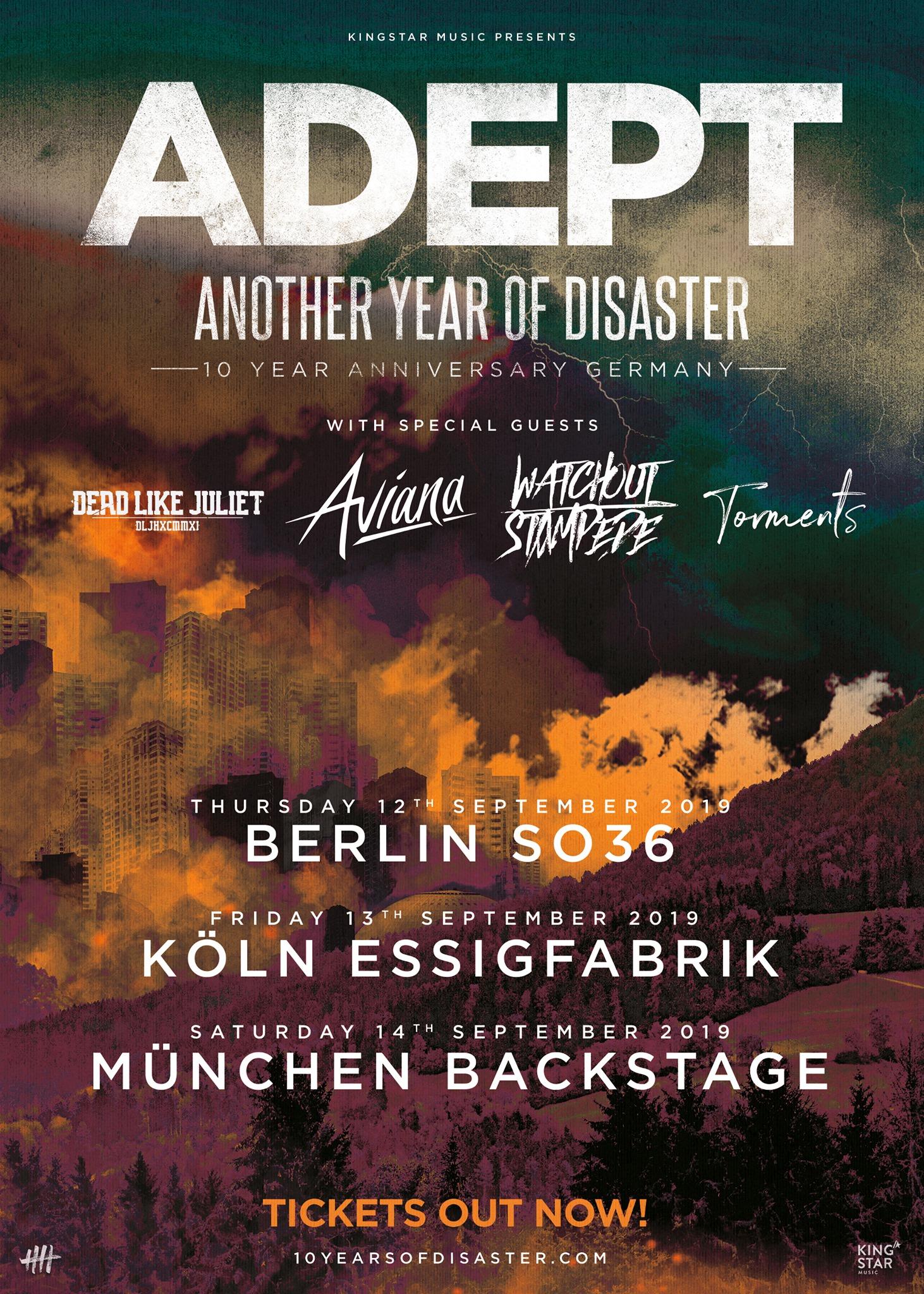 Tourplakat Adept - Another Year Of Disaster Tour 2019