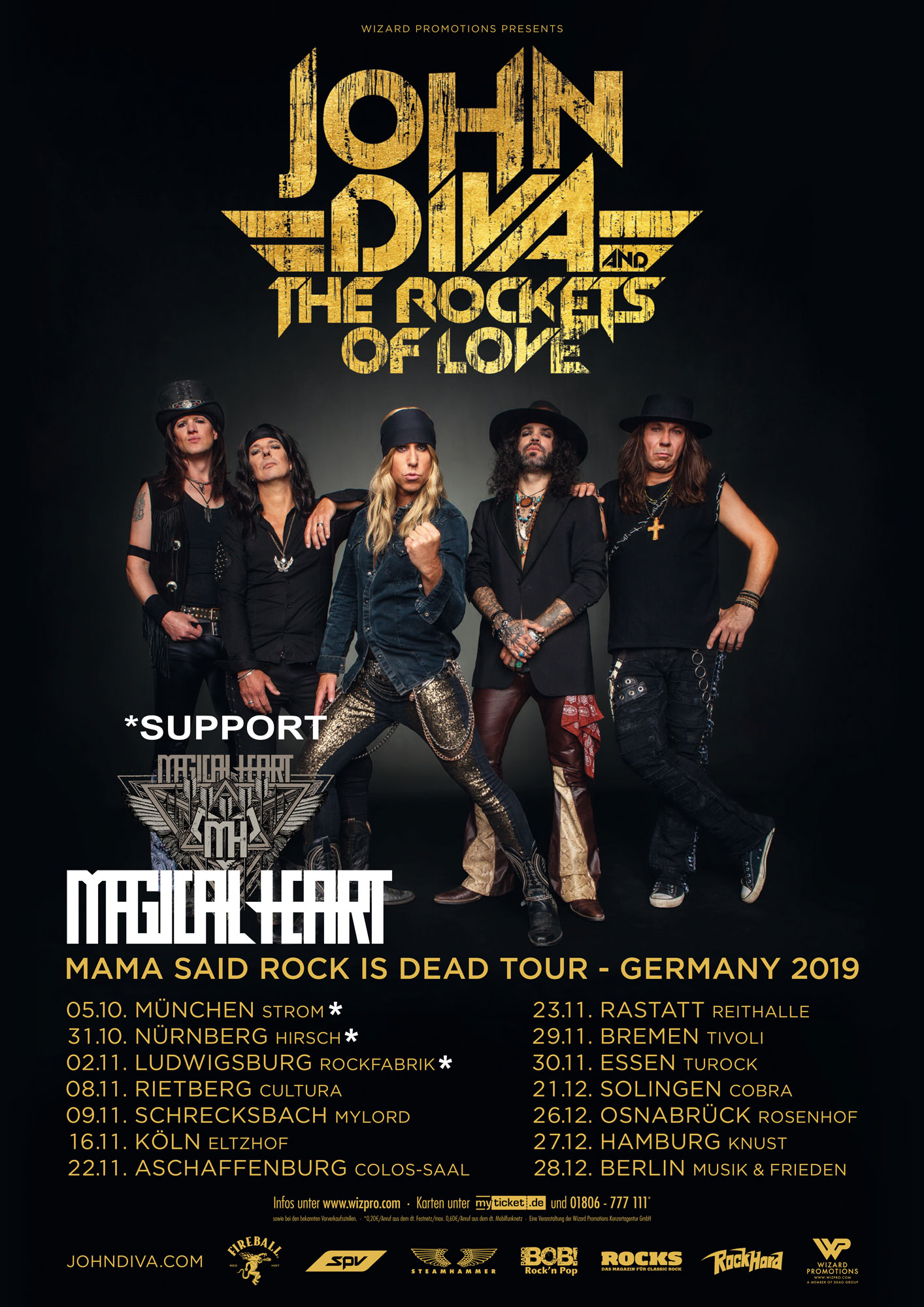 Tourposter John Diva & The Rockets Of Love - Mama Said Rock Is Dead Tour 2019