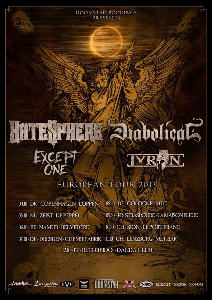 Tourplakat Hatesphere und Diabolical Tour 2019