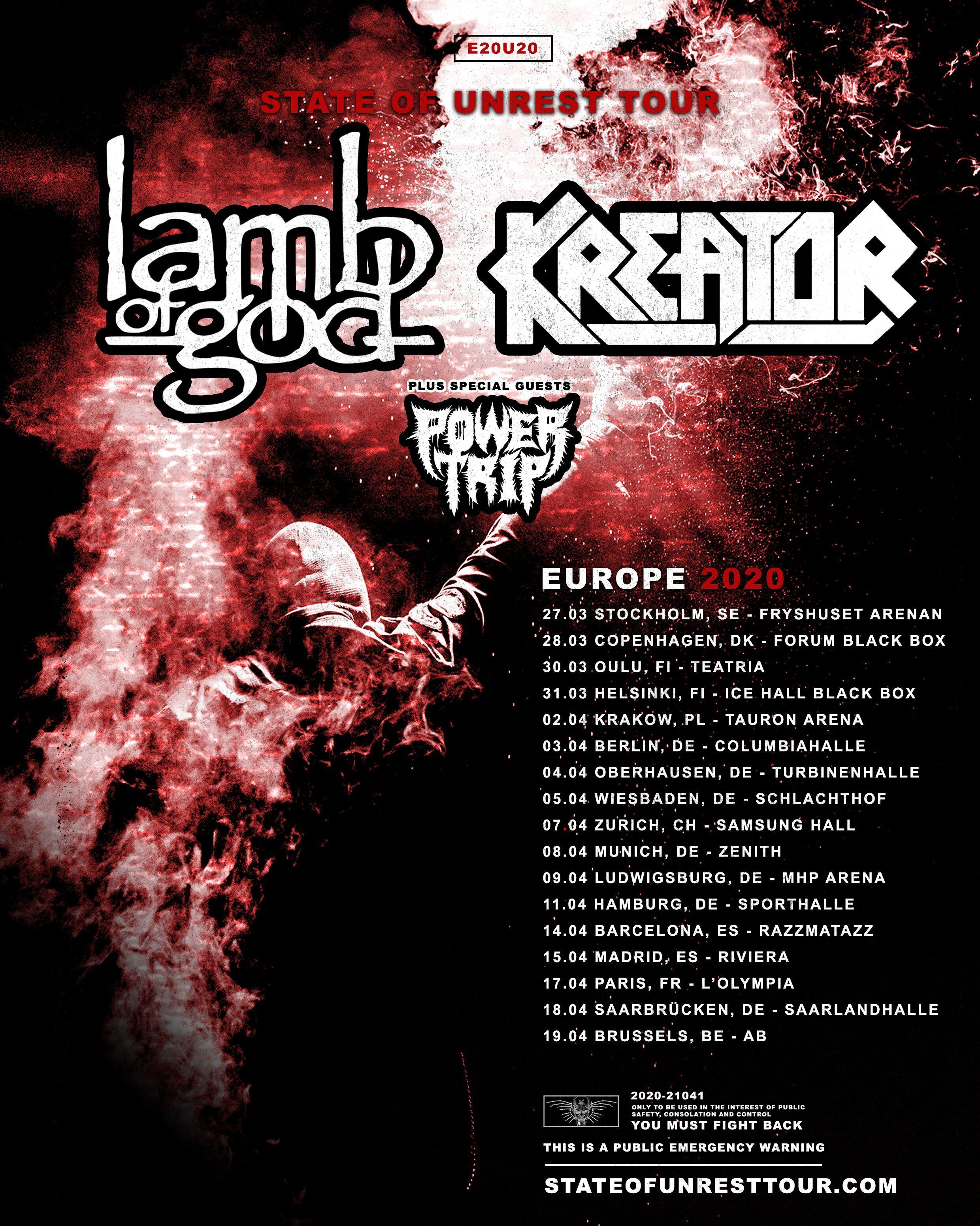 Lamb Of God & Kreator - Tour 2020
