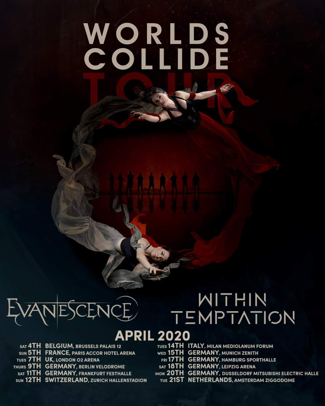 Poster Evanescence & Within Temptation - Worlds Collide Tour 2019