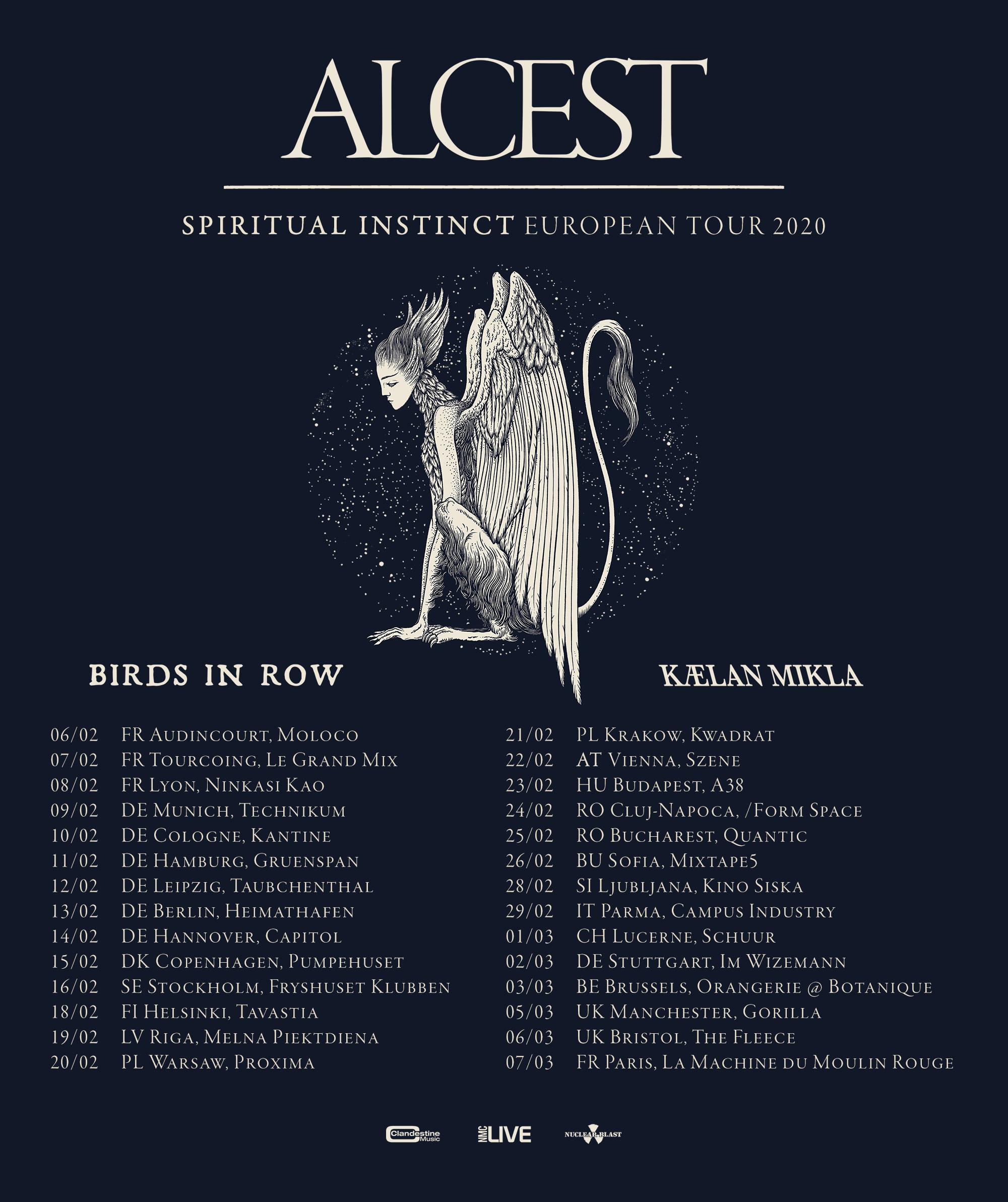 Tourplakat Alcest - Spiritual Instinct European Tour 2020